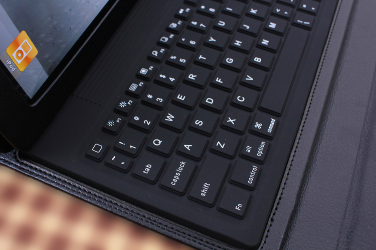 Bluetooth Wireless Silicone Keyboard Dock, Leather Cover Case for iPad 2/iPad 3/.iPad 4, BLACK