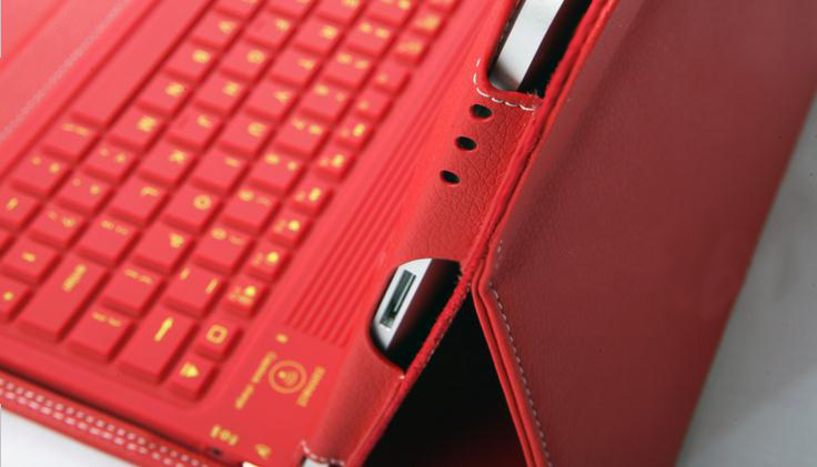 Bluetooth Wireless Silicone Keyboard Dock, Leather Cover Case for iPad 2/iPad 3/ iPad 4, RED