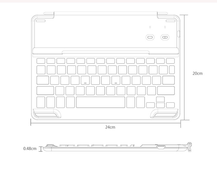 B.O.W. Extra Ultra Slim Aluminum Cover with Bluetooth 3.0 high quality keyboard for iPad Air  - Turn your iPad Air to a Mac