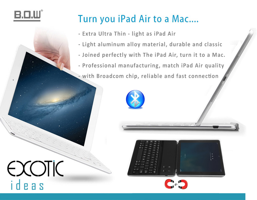 B.O.W. Extra Ultra Slim Aluminum Cover with Bluetooth 3.0 high quality keyboard for iPad Air 2 - Turn your iPad Air to a Mac