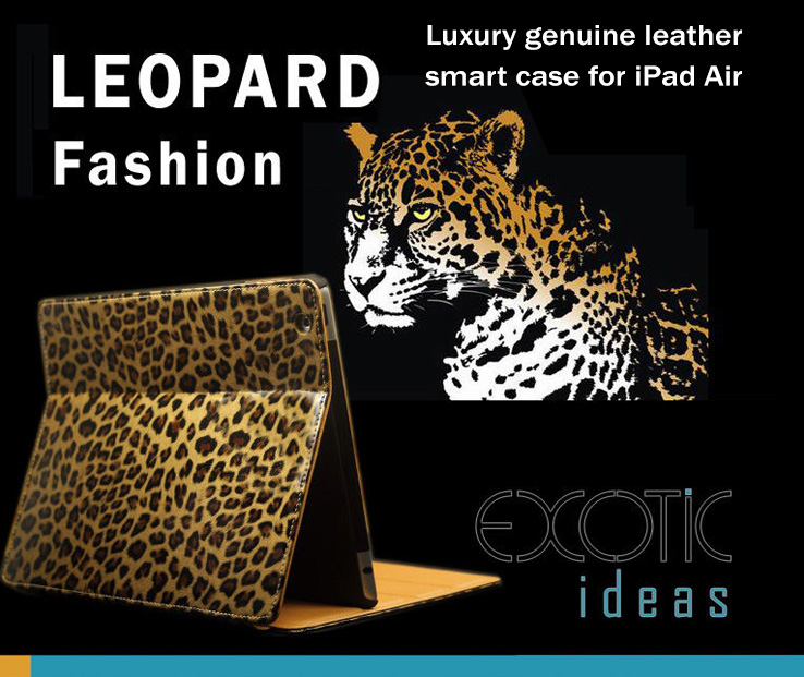 Luxury Genuine Leather Smart Cover with Leopard Texture for iPad Air,  Auto Sleep/Awake Feature
