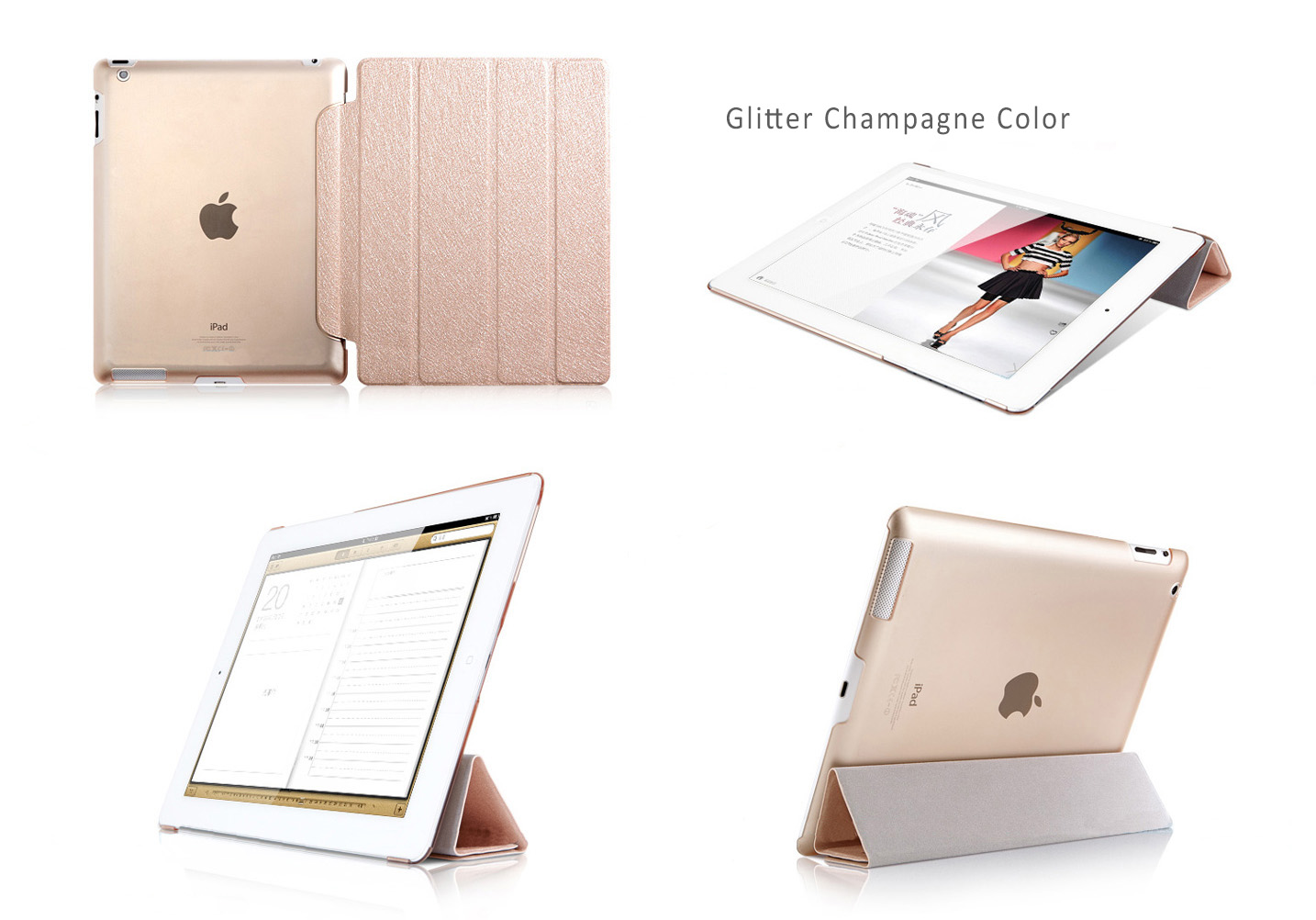 HOCO Glitter Covers / Cases / Sleeve Bags  for iPad Air - Auto Sleep / Awake Feature,mported PU and PC ECO Friendly Material
