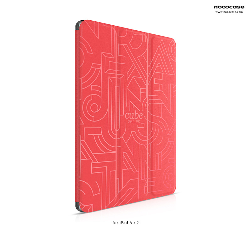 HOCO Leather Smart Cover for iPad Air 2 Cube Series - with Abstract Geometric Pattern