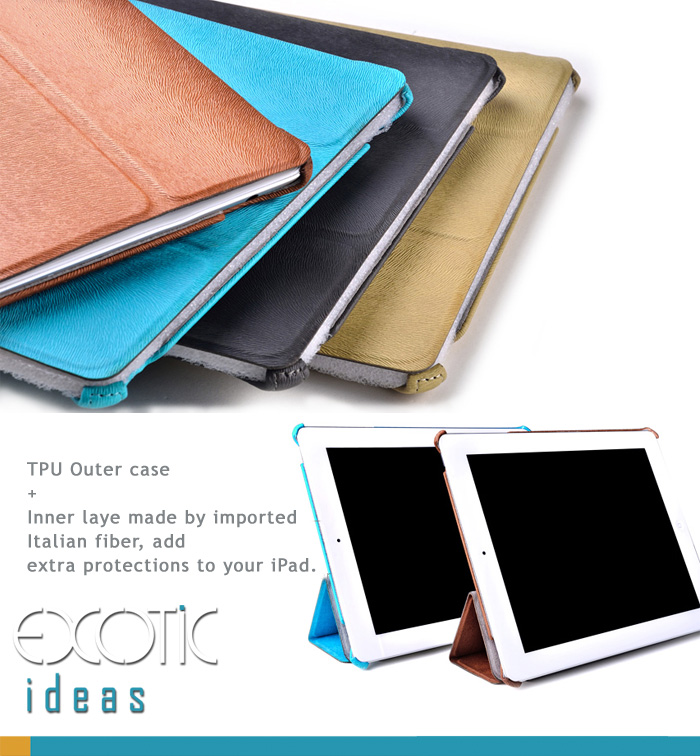 iPad 2, iPad 3, The new iPad Case, Cover, Texture Grain, TPU Outer Case Fiber Inner Layer, Auto Sleep/Awake
