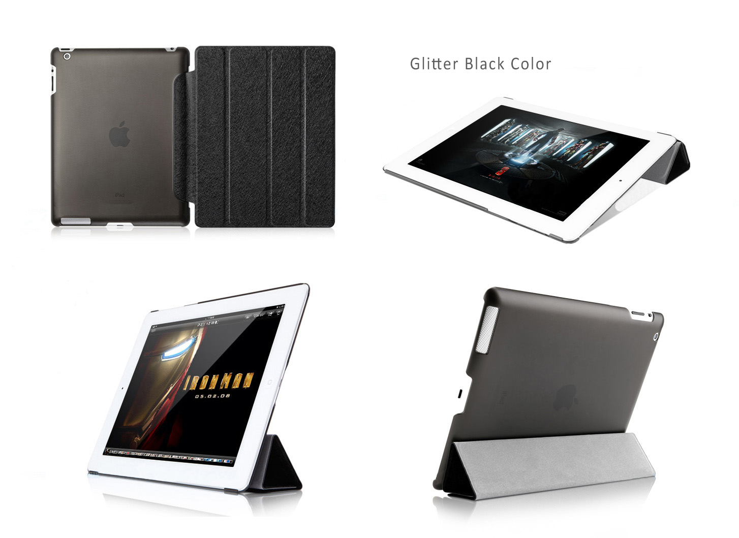 HOCO Smart Cover ICE Series for iPad 2,3,4 - Glitter Cool Colors with Translucent Back Shell, Auto-sleep Feature.