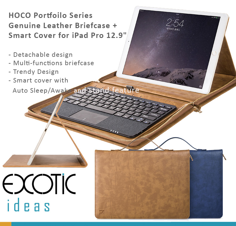 "HOCO Portfoilo Series Genuine Leather Briefcase + Smart Cover for iPad Pro 12.9"" - Detachable Design - Multi-functions Briefcase Design"