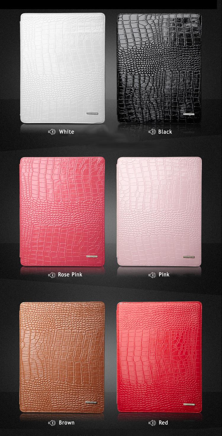 Top Grade Geniune Leather Sleeve Bag Cover for iPad 2, The New iPad with Crocodile Texture Design