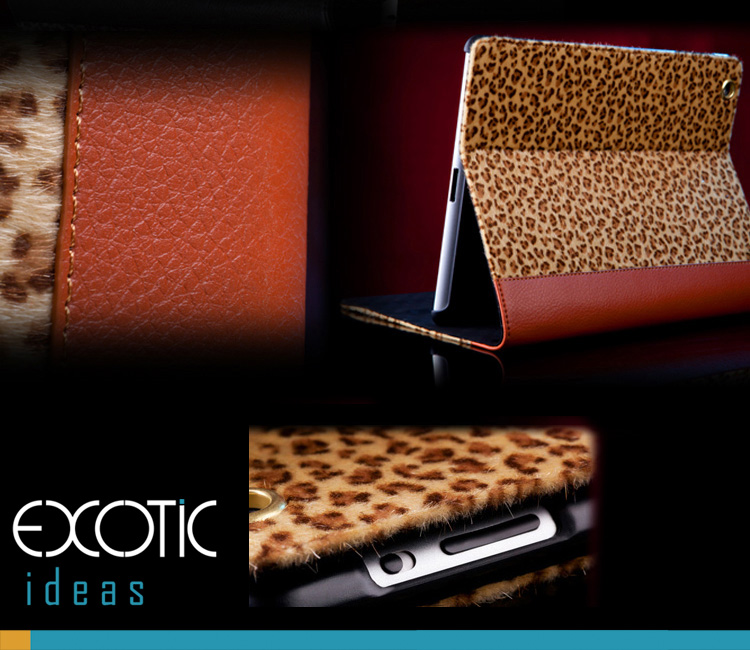 iPad 2, iPad 3, iPad 4 Skin Case Bag,  Fashionable Leopard Fur Design + Eco Friendly ABS Material Hard Case - Golden Leopard