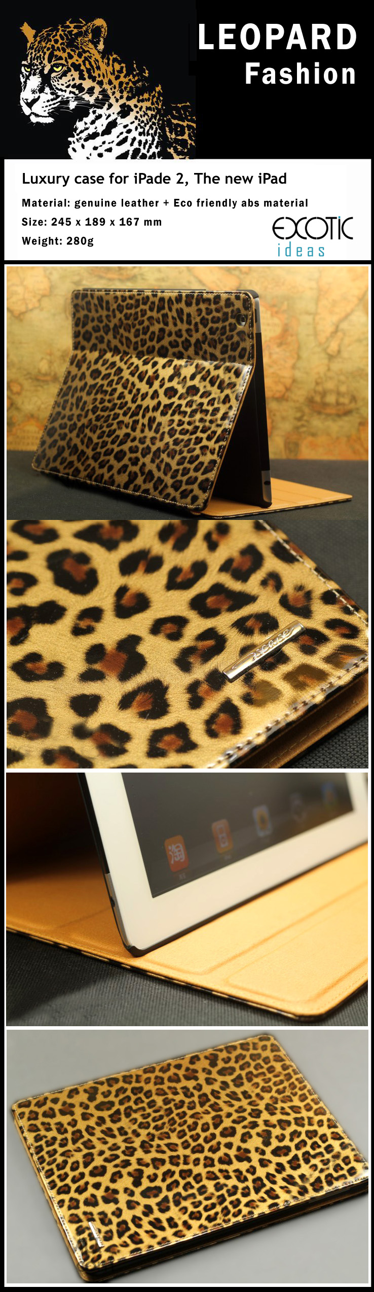Luxury Leopard Texture Genuine Leather Case for iPad 2,The new iPad (iPad 3rd Generation), iPad 4