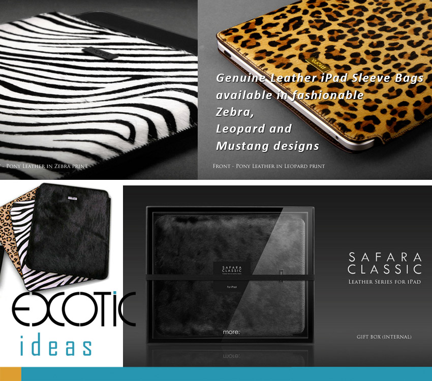 """Safara Classic Series Genuine Cowhide and Calfskin Leather Sleeve Bags for iPad Air, iPad 2,3,4, Fits to 8-10.1"""" Tablets - Options-Zebra, Leopard, Mustang textures"""