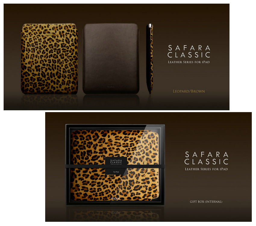"Safara Classic Series Genuine Cowhide and Calfskin Leather Sleeve Bags for iPad Air, iPad 2,3,4, Fits to 8-10.1"" Tablets - Options-Zebra, Leopard, Mustang textures"