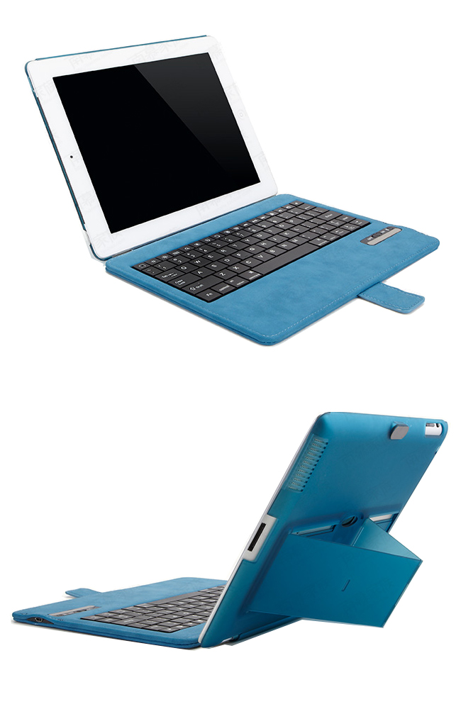 Fine PU Leather + PU Cover Case + Bluetooth Wireless Detachable Keyboard for iPad 2,  iPad 3,  iPad 4, -  with Stand on back cover