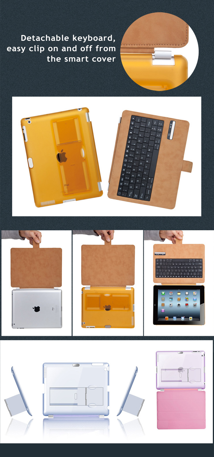 Fine PU Leather + PC Cover Case + Bluetooth Wireless Detachable Keyboard for iPad 2,  iPad 3,  iPad 4, -  with Stand on back cover