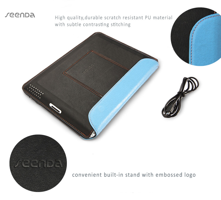 Seenda Leather Smart Cover with Bluetooth Keyboard  for iPad2,3,4 - with Integrated Stand on the Back Cover, Ultra Thinoard  for iPad2,3,4 - with Integrated Stand on the Back Cover, Ultra Thin