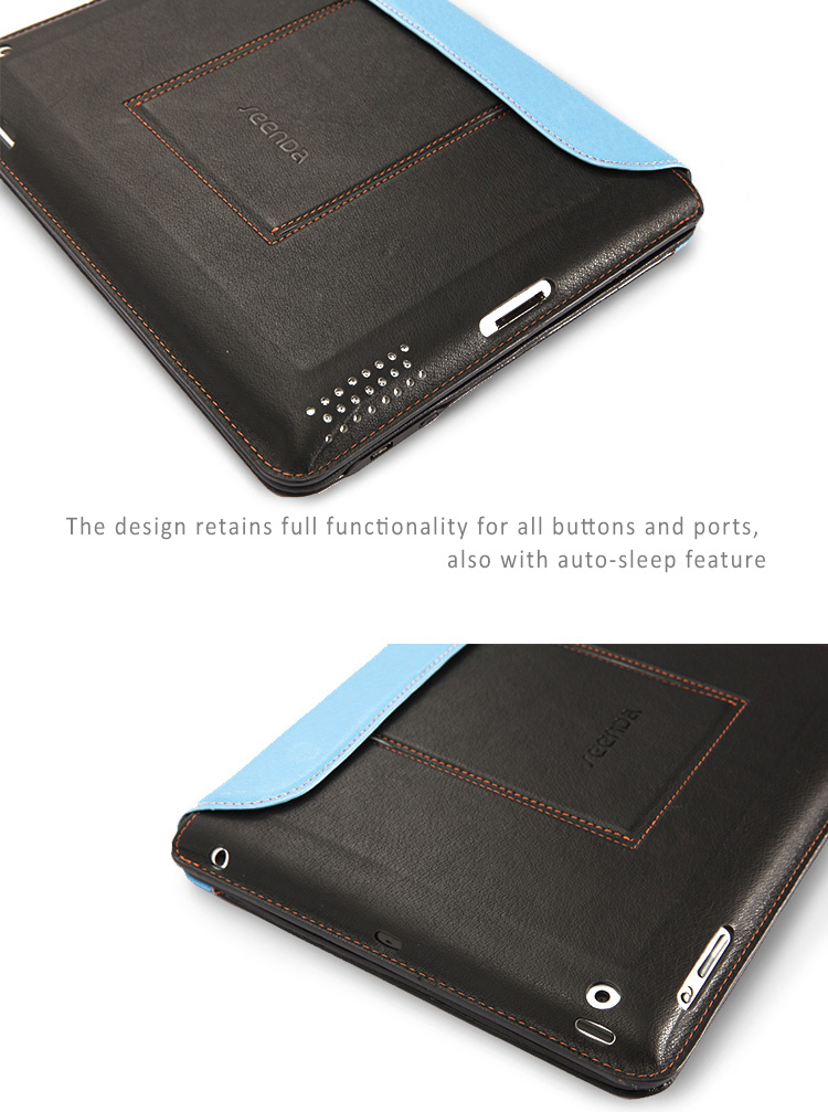 Seenda Leather Smart Cover with Bluetooth Keyboard  for iPad2,3,4 - with Integrated Stand on the Back Cover, Ultra Thin