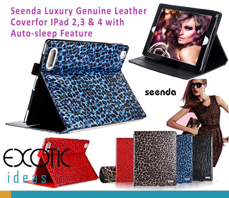 Seenda Luxury Genuine Leather Smart Cover with Leopard Texture for iPad 2, 3, 4. Auto Sleep Feature