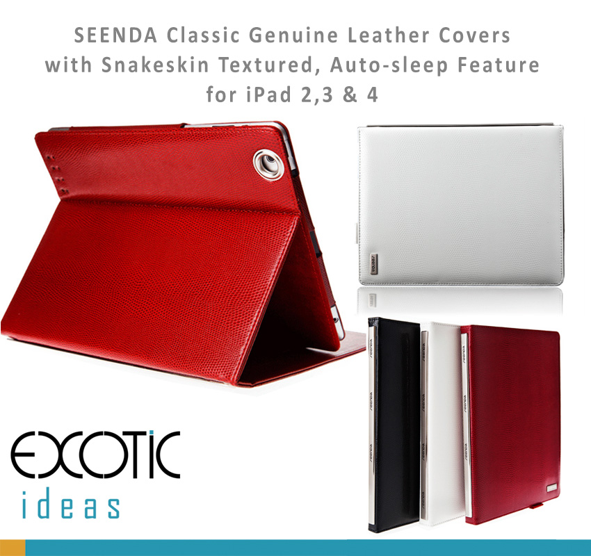 Seenda Classic Smart Covers for iPad 2, 3 & 4 Genuine Leather with Snakeskin Textured with Metal Frame