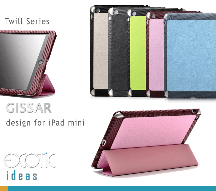 Gissar iPad Mini  Cover Case Sleeve Bag, Fine Twill Texture. Fine  PU Leather, Fashionable Color and Design