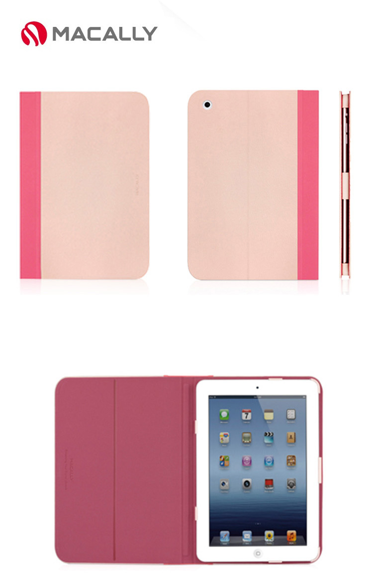 Macally Slim Folio Stand Case for iPad Mini, Mini Retina, Mini 3, with PU Leather and soft linning, Fashionable Color and Design