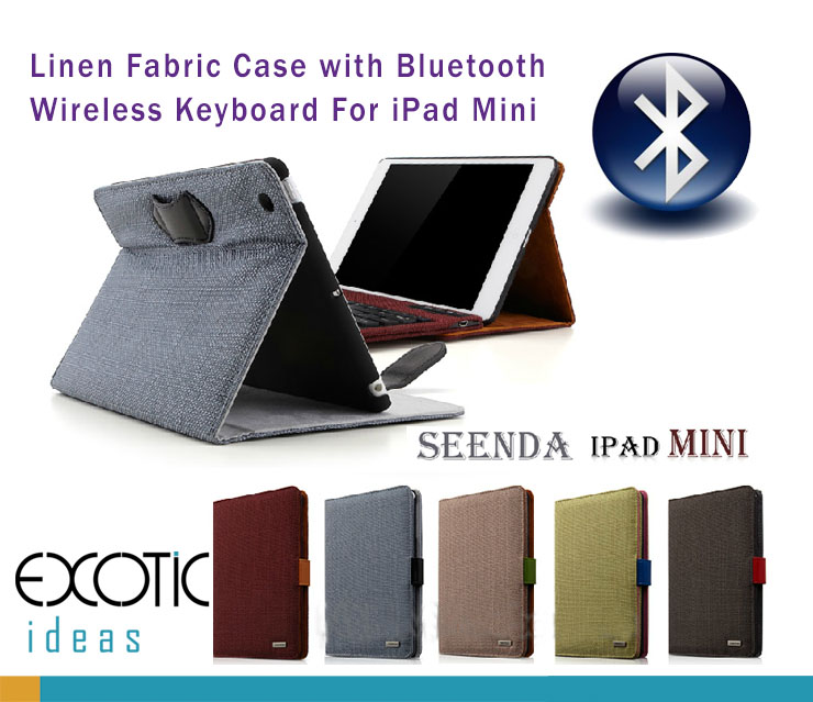Seenda iPad Mini, Mini Retina, Mini 3. Linen Fabric Cover Case + Bluetooth Wireless Keyboard Dock Case -  with Stand and Auto Sleep Features