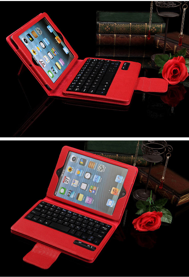 iPad Mini Fine PU Leather Cover Case + Bluetooth Wireless Detachable Keyboard  -  with Stand and Auto Sleep Features