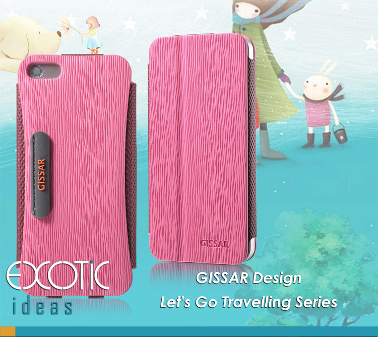 GISSAR design for iPhone 5 Case Skin - Korea made PU leather - Let's Go Travelling Series- Flip Cover, Stand Feature, Magnet built-in cover