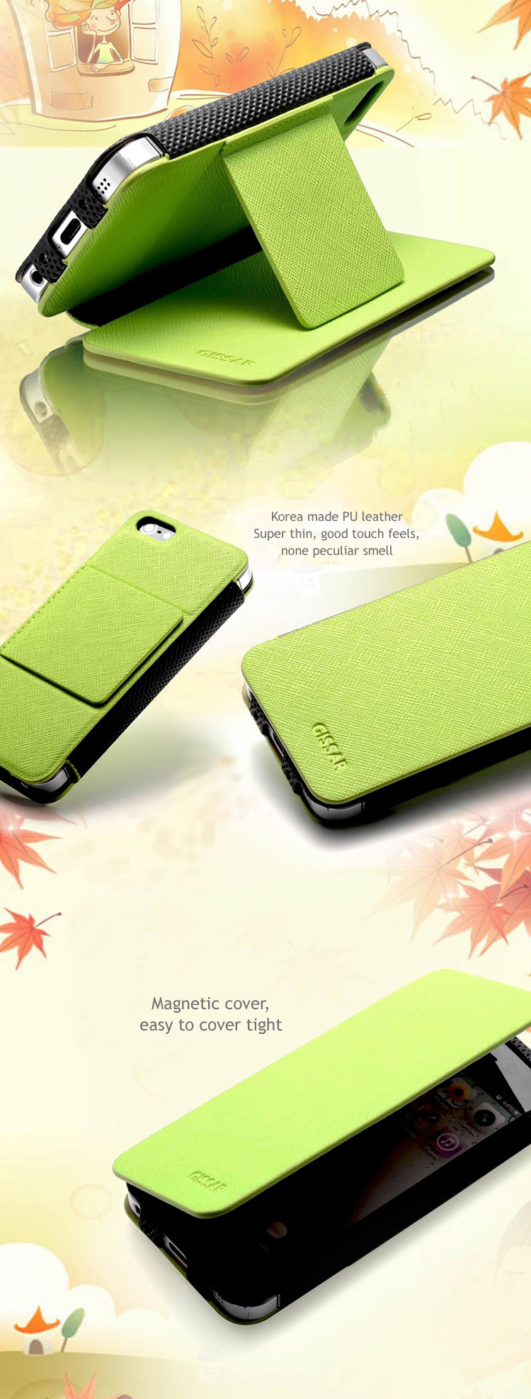 GISSAR design for iPhone 5 Case Skin - Korea made PU leather - Autumn Series- Flip Cover, Stand Feature, Magnet built-in cover