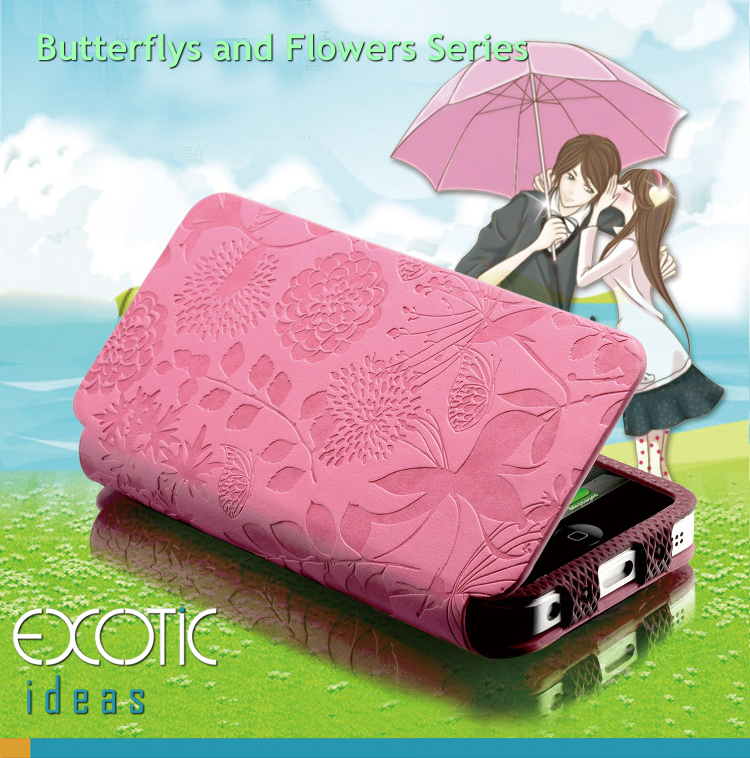 GISSAR design for iPhone 5 Case Skin - Korea made PU leather - Butterflys and Flowers Series- Flip Cover, Stand Feature, Magnet built-in cover