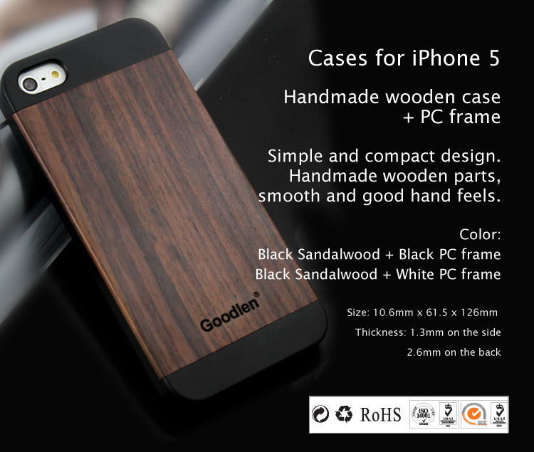 Wooden Case Skin For Iphone 5 5s Black Sandalwood Pc Frame Wear Resistance Anti Cracking