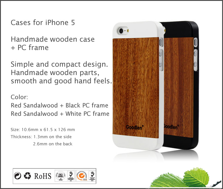 Goodlen Wooden Case Skin for iPhone 5, 5S, 5C - Red Sandalwood + PC Frame - Wear resistance, No cracking.  Retro and Fashion