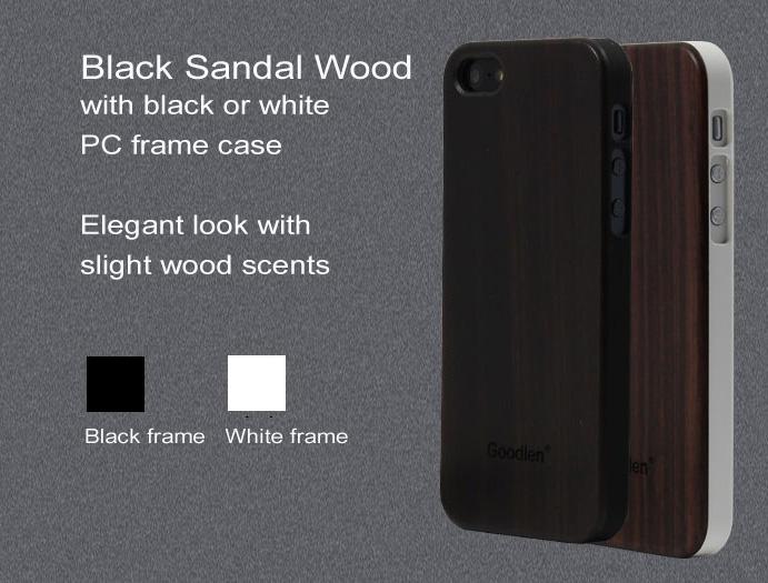 Goodlen Wooden iPhone 5 Case Skin - Black Sandalwood + PC case - Wear resistance, No cracking.  Retro and Fashion