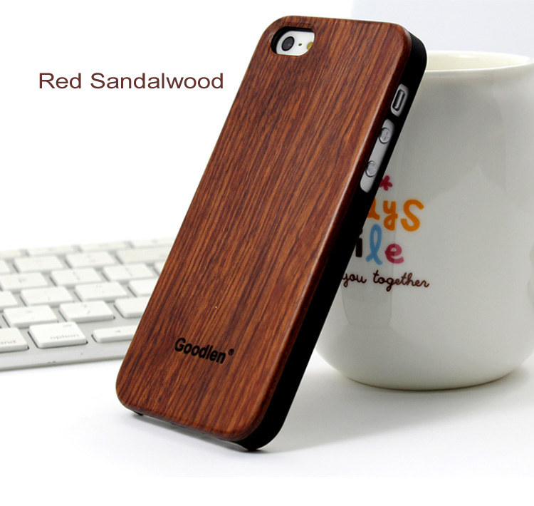 Goodlen Wooden iPhone 5 Case Skin - Red Sandalwood + PC case - Wear resistance, No cracking.  Retro and Fashion