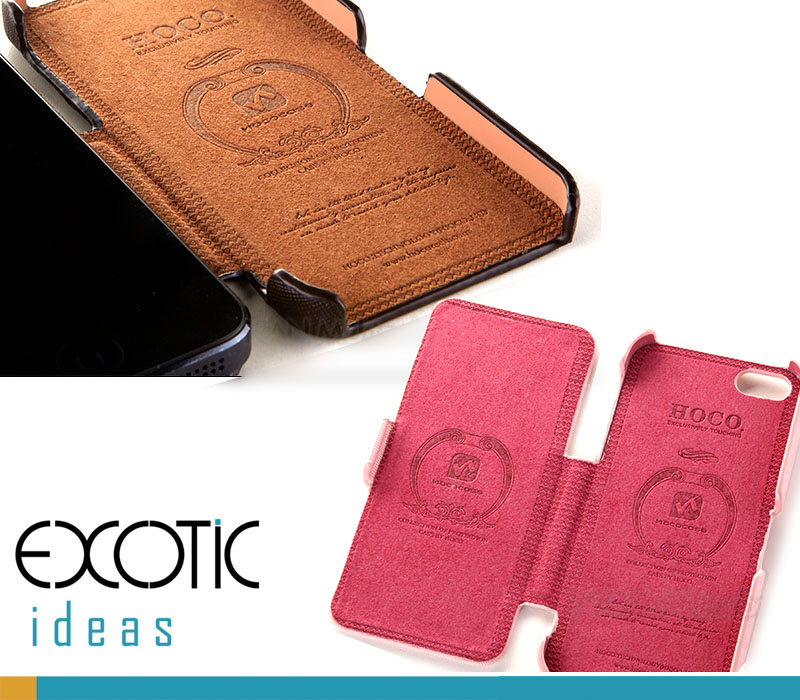 iPhone 5 Leather iPhone Case Skin - HOCO Fine Fiber Case with leather Inner - Baron Series Black, Coffee, White, Pink