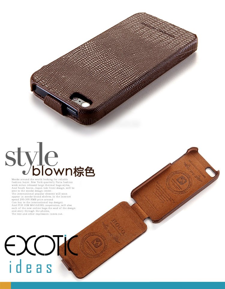 iPhone 5 Leather iPhone Case Skin - HOCO Geniune Leather with Lizard Textured - Black, Coffee, Blue, Pink