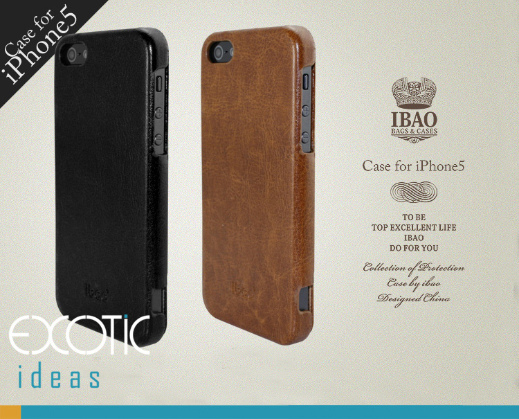 iBao iPhone 5 Case Skin -Fine Genuine Leather Flip Case - Black / Brown