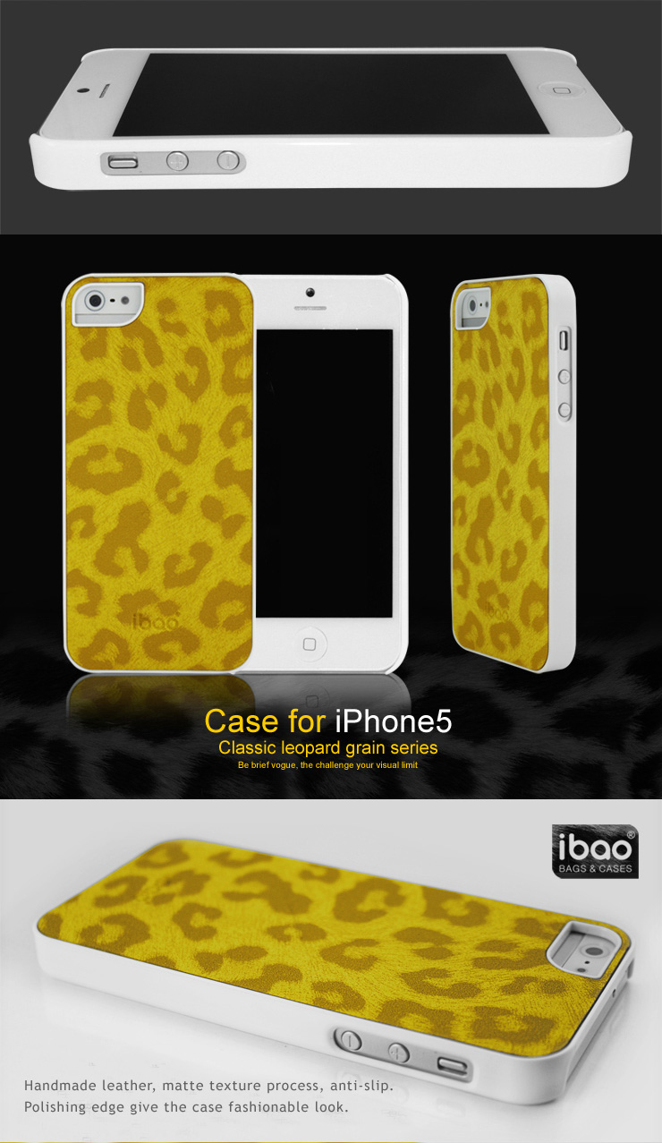 iBao iPhone 5 Case Skin - Hardcase with Leopard Texture Design - Pink, Yellow, White, Black