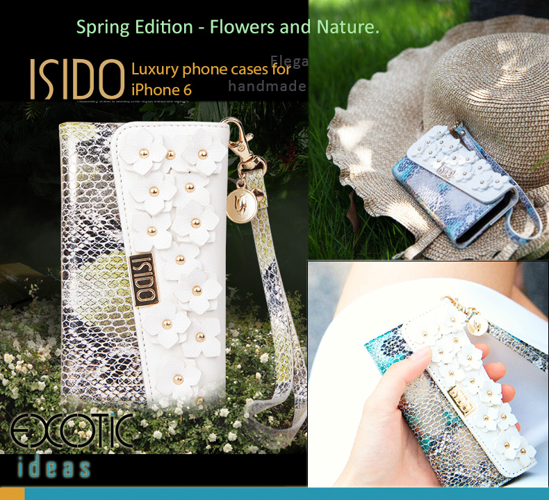 isido iPhone 5/5S, iPhone 6/6S Protective Cases. Flowers and Nature Series - Genuine Leather with Snakeskin Grain and 3D Double Layer Flowers