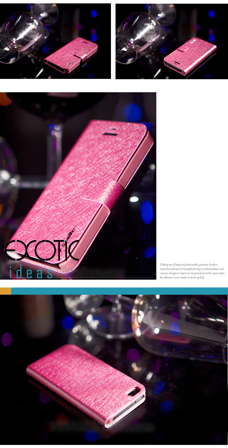 iPhone 5 Leather iPhone Case Skin - iSmile Gliter PU leather -Stand Feature