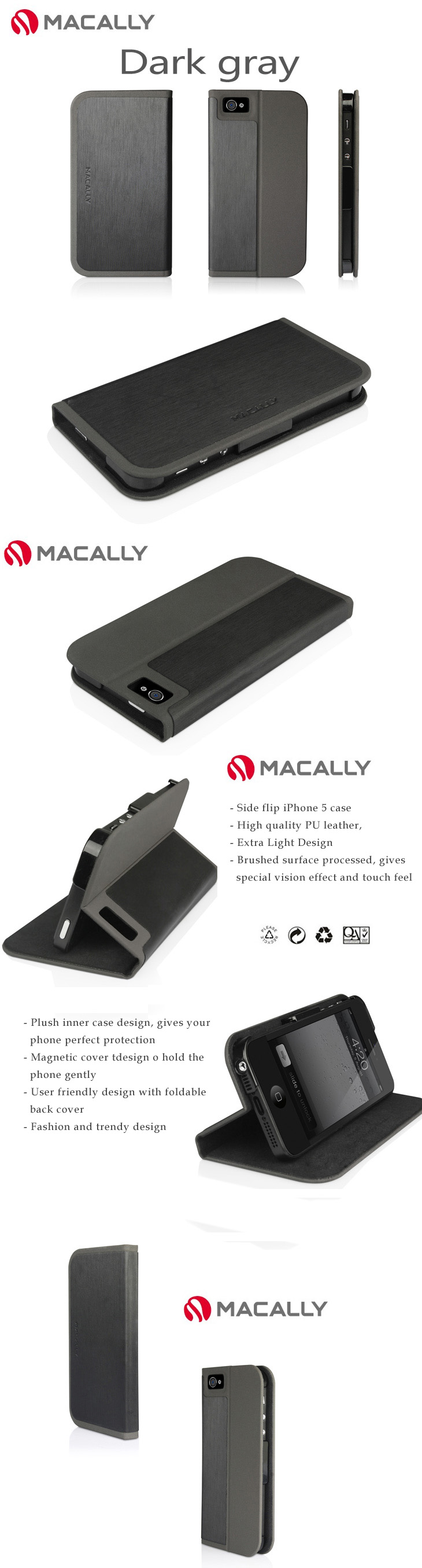 Macally iPhone 5 Case Skin -  Side Flip Case with Magnetic Stand Feature,  Trendy Dual Colors  Design
