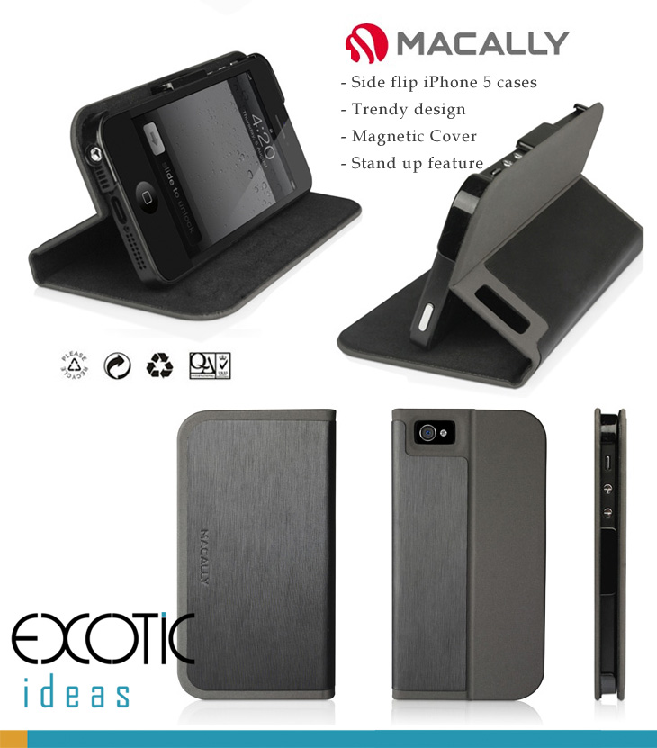 Macally iPhone 5 Case Skin -  Side Flip Case with Magnetic Stand Feature,  Trendy Dual Colors  Design-Black