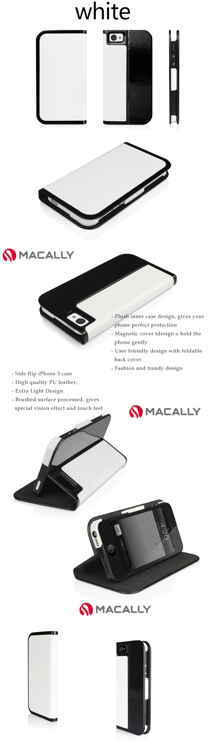 Macally iPhone 5/5S Case Skin -  Side Flip Case with Magnetic Stand Feature,  Trendy Dual Colors  Design