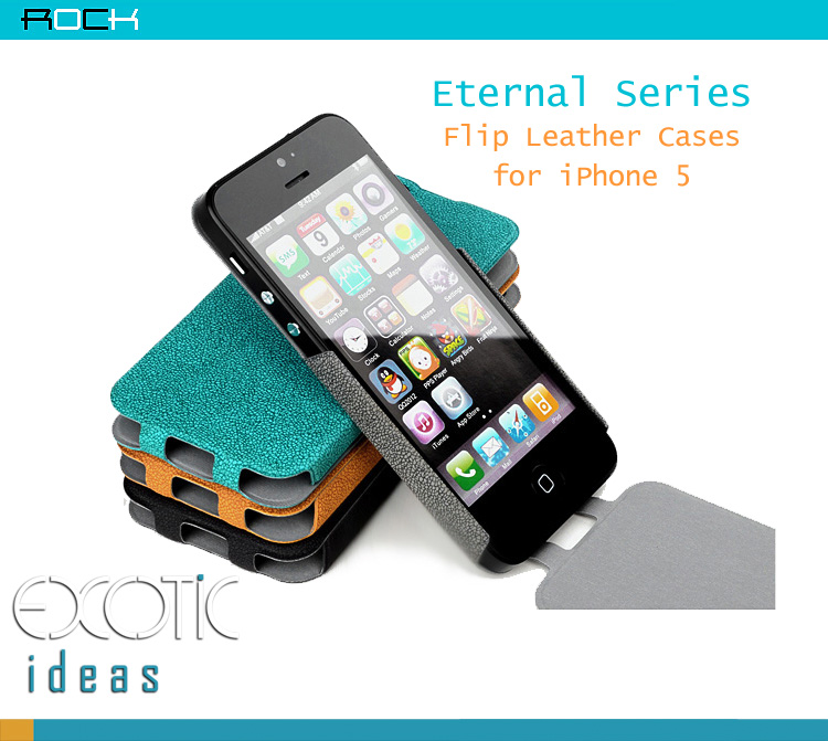ROCK design for iPhone 5 Case Skin - Eternal Series- Flip Leather Cases s - 360 degrees bendable