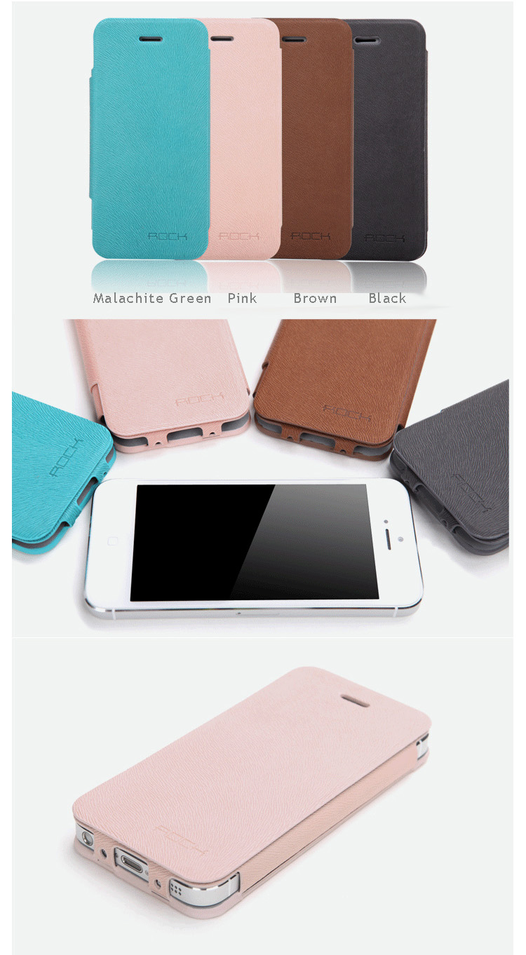 ROCK iPhone 5 Case Skin - Natural Texture Series - Side Flip Leather Case with Stand Feature and 360 degree foldbale