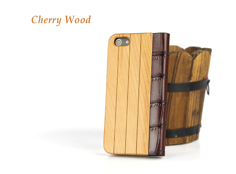 Natural Wood Collection -- Genuine Wood + PU Leather Cover for iPhone 5/5S/5C - Superior hand-polished finish - Red  Sandalwood, Walnut, Cherry wood,  Bamboo