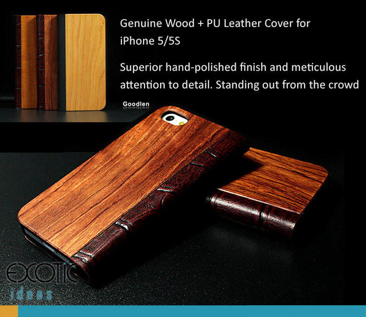 Goodlen Nature Collection - Genuine Wood + PU Leather Cover for iPhone 5/5S/5C - Superior hand-polished finish - Red Sandalwood, Rosewood, Cherry wood