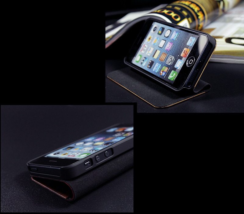 Goodlen Nature Collection - Genuine Wood + PU Leather Cover for iPhone 5/5S/5C - Superior hand-polished finish - Black Sandalwood, Rosewood, Cherry wood