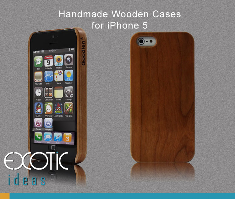 Goodlen Wooden Case Skin  iPhone 5. 5S, 5C - Handmade One Piece Wooden Cases, Walnut, Rosewood, White Maple, Cherry Wood, 4 Choises