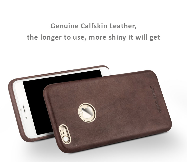 bd6381a2668 Genuine Calfskin Leather Case Skin for iPhone 7 7 Plus
