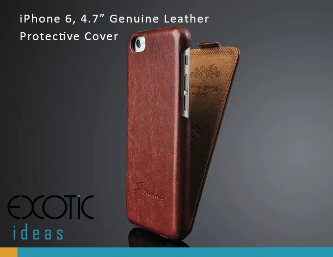 "iPhone 6/6S 4.7"" Protective Case - Genuine Leather with Flip Cover"