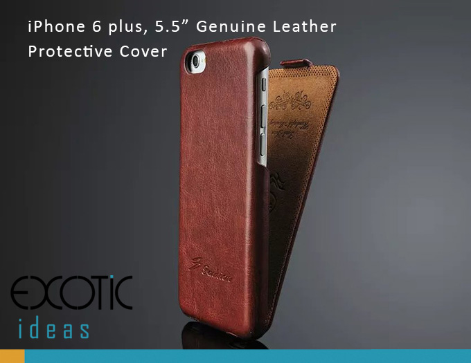 "iPhone 6 plus 5.5"" Protective Case - Genuine Leather with Flip Cover"